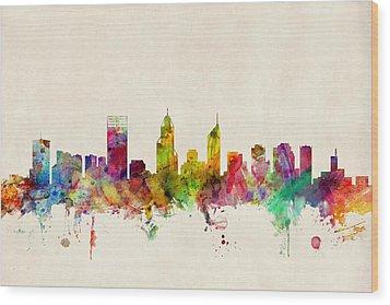 Perth Australia Skyline Wood Print by Michael Tompsett