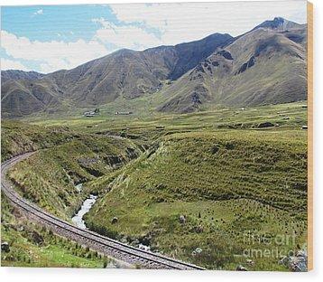 Peru Mountain Pass Rail Road Wood Print by Ted Pollard
