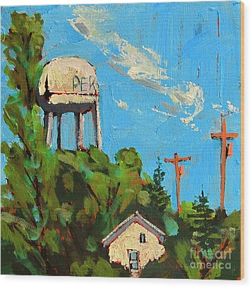 Peru Water Tower On 9th Wood Print by Charlie Spear