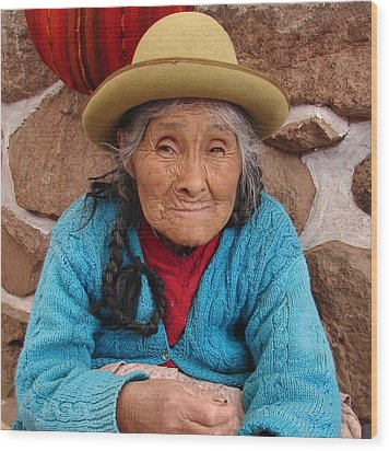 Peruvian Beauty Wood Print by Ramona Johnston