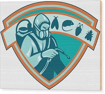 Pest Control Exterminator Worker Shield Wood Print by Aloysius Patrimonio