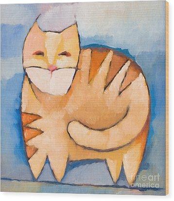 Pet Tiger Wood Print by Lutz Baar