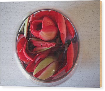 Wood Print featuring the photograph Petals In Vase  by Conor Murphy