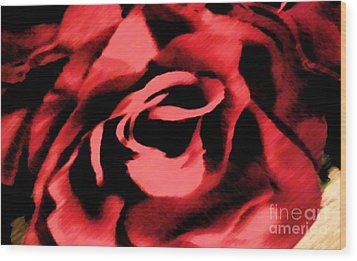 Wood Print featuring the painting Petals Of Velvetty Red by Catherine Lott