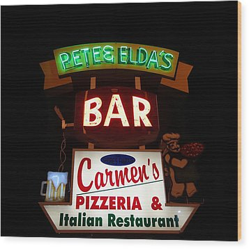 Pete And Elda's Bar Wood Print