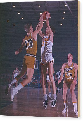 Pete Maravich Shooting Over Player Wood Print by Retro Images Archive