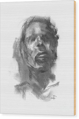 Wood Print featuring the drawing Pete by Paul Davenport