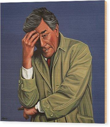 Peter Falk As Columbo Wood Print by Paul Meijering