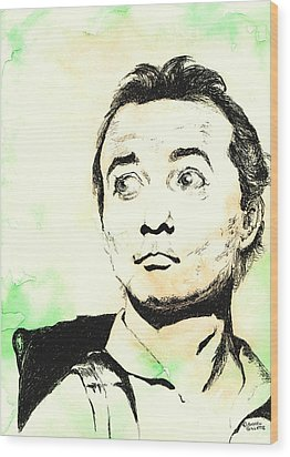 Wood Print featuring the mixed media Peter Venkman by Andrew Gillette