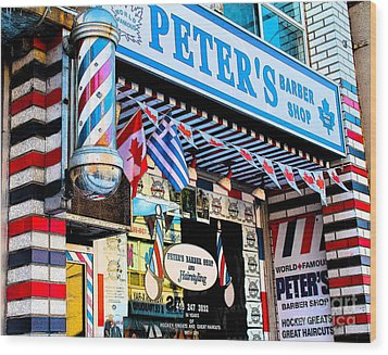 Peter's Barber Shop Circa 1961 Wood Print by Nina Silver