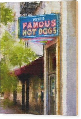 Pete's Famous Hot Dogs Wood Print by Fred Baird