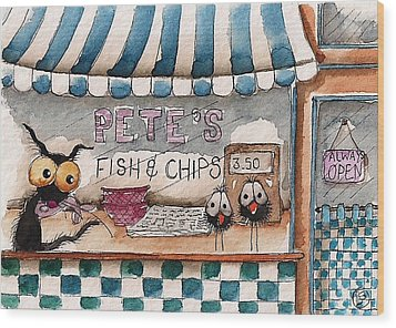 Pete's Fish And Chips Wood Print by Lucia Stewart