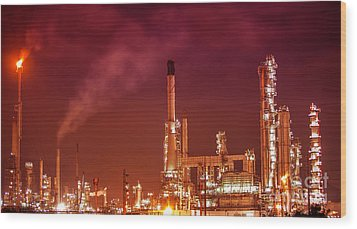 Petrochemical Oil Refinery Plant  Wood Print
