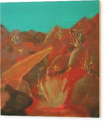 Wood Print featuring the painting Petroglyph Park by Keith Thue