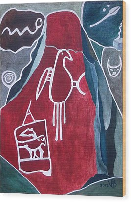 Petroglyph Parrot Wood Print