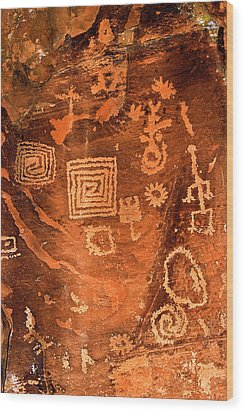Petroglyph Symbols Wood Print by Phyllis Denton