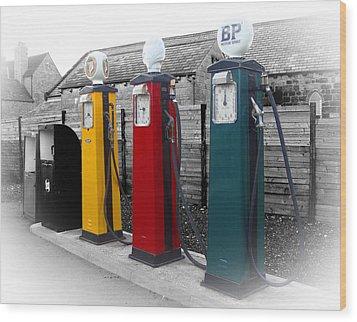 Petrol Station Wood Print by Roberto Alamino