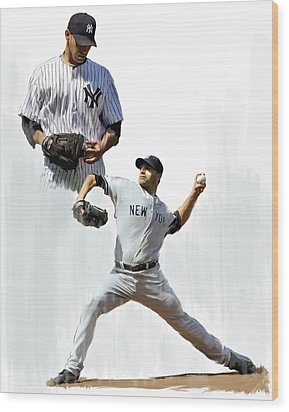 Pettitte  Andy Pettitte Wood Print by Iconic Images Art Gallery David Pucciarelli