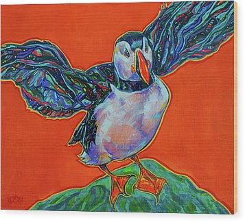 Petty Harbour Puffin Wood Print by Derrick Higgins