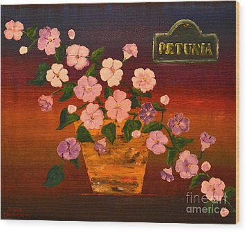 Wood Print featuring the painting Petunia by Denise Tomasura