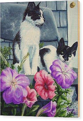 Petunia Kittens Wood Print by Ruanna Sion Shadd a'Dann'l Yoder
