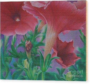Petunia Skies Wood Print by Pamela Clements