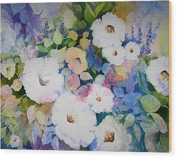 Petunias In White Wood Print