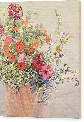 Petunias Lobelias Busy Lizzies And Fuschia In A Terracotta Pot Wood Print by Joan Thewsey