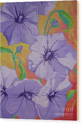 Petunias Wood Print by Sandra Yuen MacKay