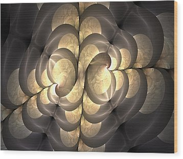 Pewter And Gold Wood Print by Lea Wiggins