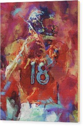 Peyton Manning Abstract 3 Wood Print by David G Paul