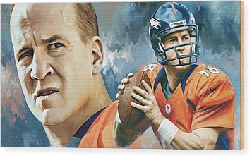 Peyton Manning Artwork Wood Print