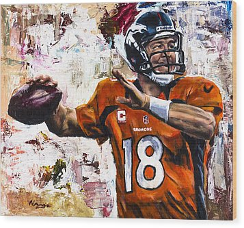 Peyton Manning Wood Print by Mark Courage