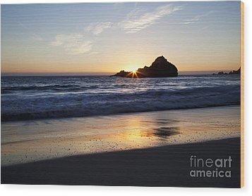 Pfeiffer Beach Sunset Wood Print by Jenna Szerlag