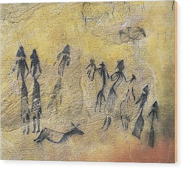 Phallic Dance. Mesolithic Art. Cave Wood Print by Everett