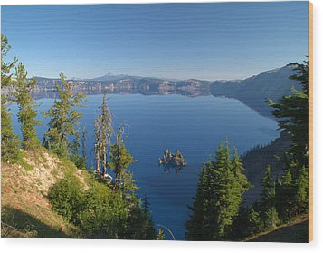 Phantom Ship Island In Crater Lake Wood Print by Brian Harig