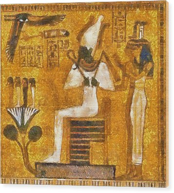 Wood Print featuring the painting Pharaoh  by Georgi Dimitrov