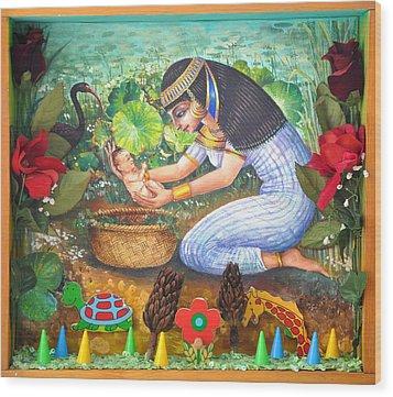 Pharao's Daughter's Catch Wood Print by Nekoda  Singer
