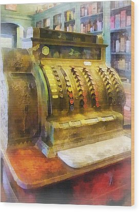 Pharmacist - Cash Register In Pharmacy Wood Print by Susan Savad