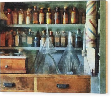 Pharmacist - Glass Funnels And Barber Pole Wood Print by Susan Savad