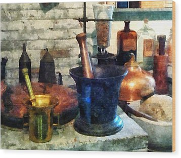 Pharmacist - Three Mortar And Pestles Wood Print by Susan Savad