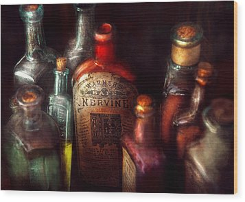 Pharmacy - A Safe Rheumatic Cure  Wood Print by Mike Savad