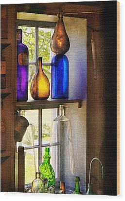 Pharmacy - Colorful Glassware  Wood Print by Mike Savad