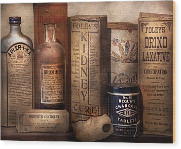 Pharmacy - Cures For The Bowels Wood Print by Mike Savad