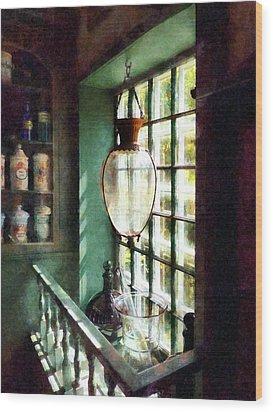 Pharmacy - Glass Mortar And Pestle On Windowsill Wood Print by Susan Savad