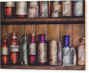 Pharmacy - Ingredients Of Medicine  Wood Print by Mike Savad