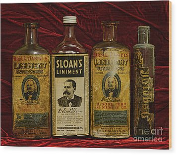 Pharmacy - Liniments For Sore Muscles Wood Print by Paul Ward
