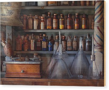 Pharmacy - Master Of Many Trades  Wood Print by Mike Savad