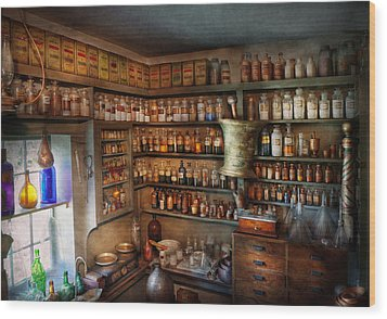 Pharmacy - Medicinal Chemistry Wood Print by Mike Savad