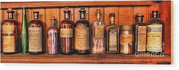 Pharmacy - Medicine Bottles II Wood Print by Lee Dos Santos